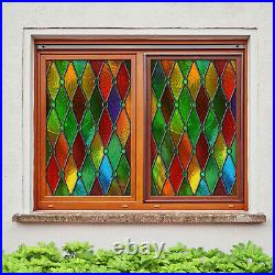 3D Circle Color ZHUB182 Window Film Print Sticker Cling Stained Glass UV Block