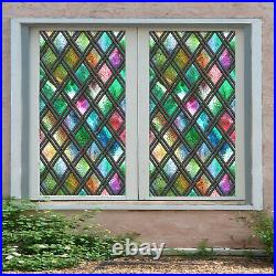 3D Color Block ZHUA585 Window Film Print Sticker Cling Stained Glass UV