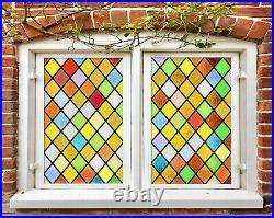 3D Color Brick ZHUB34 Window Film Print Sticker Cling Stained Glass UV Block