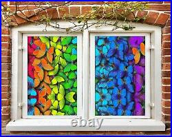 3D Color Butterf I148 Window Film Print Sticker Cling Stained Glass UV Block Ang