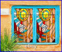 3D Color Circle ZHUA004 Window Film Print Sticker Cling Stained Glass UV Zoe