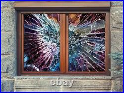 3D Color Crack A516 Window Film Print Sticker Cling Stained Glass UV Amy