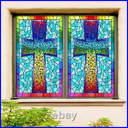 3D Color Cross 390NAO Window Film Print Sticker Cling Stained Glass UV Block Fa
