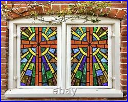 3D Color Cross O657 Window Film Print Sticker Cling Stained Glass UV Block Am