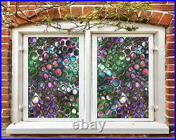 3D Color Dots B578 Window Film Print Sticker Cling Stained Glass UV Block Amy