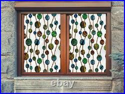 3D Color Dots B649 Window Film Print Sticker Cling Stained Glass UV Block Amy