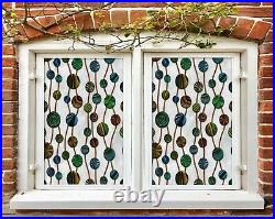 3D Color Dots I649 Window Film Print Sticker Cling Stained Glass UV Block Amy