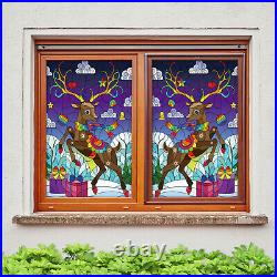 3D Color Fawn ZHUA734 Window Film Print Sticker Cling Stained Glass UV