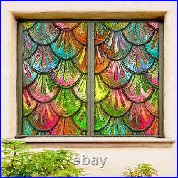 3D Color Fish Shape ZHUA82 Window Film Print Sticker Cling Stained Glass UV Zoe