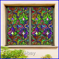 3D Color Flower Shape ZHUA085 Window Film Print Sticker Cling Stained Glass UV