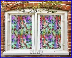 3D Color Flowers D345 Window Film Print Sticker Cling Stained Glass UV Block Amy