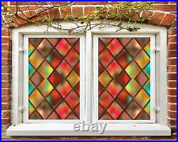 3D Color Grid ZHUB667 Window Film Print Sticker Cling Stained Glass UV Block