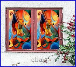 3D Color Guitar ZHUA422 Window Film Print Sticker Cling Stained Glass UV Zoe