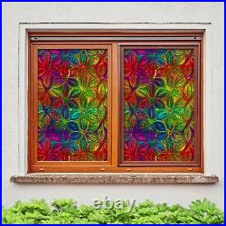 3D Color Leaves D322 Window Film Print Sticker Cling Stained Glass UV Block Amy