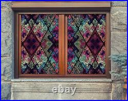 3D Color Mosaic Flower A147 Window Film Print Sticker Cling Stained Glass UV Zoe