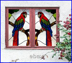 3D Color Parrot ZHUB412 Window Film Print Sticker Cling Stained Glass UV Block