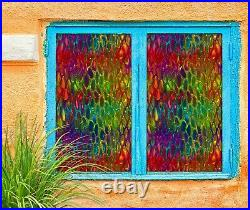 3D Color Pattern A416 Window Film Print Sticker Cling Stained Glass UV Amy