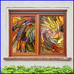 3D Color Pattern A542 Window Film Print Sticker Cling Stained Glass UV Amy