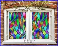 3D Color Pattern A625 Window Film Print Sticker Cling Stained Glass UV Amy