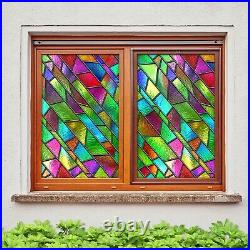3D Color Pattern A627 Window Film Print Sticker Cling Stained Glass UV Amy