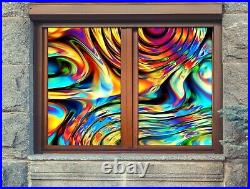 3D Color Pattern B505 Window Film Print Sticker Cling Stained Glass UV Block Amy