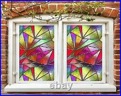 3D Color Pattern I633 Window Film Print Sticker Cling Stained Glass UV Block Amy