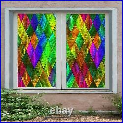3D Color Pattern O722 Window Film Print Sticker Cling Stained Glass UV Block Am