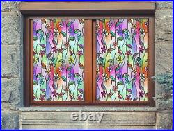 3D Color Petal I635 Window Film Print Sticker Cling Stained Glass UV Block Amy