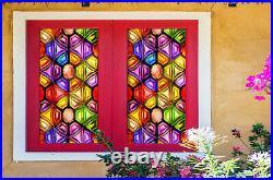 3D Color Quadrangle ZHUB6 Window Film Print Sticker Cling Stained Glass UV Block