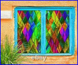 3D Color Rhombus B322 Window Film Print Sticker Cling Stained Glass UV Block Amy