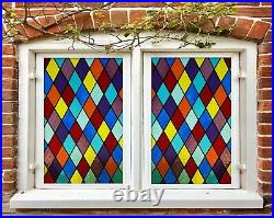 3D Color Rhombus D525 Window Film Print Sticker Cling Stained Glass UV Block Amy