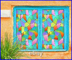 3D Color Rhombus ZHUA131 Window Film Print Sticker Cling Stained Glass UV