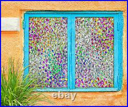 3D Color Sequins ZHUA716 Window Film Print Sticker Cling Stained Glass UV