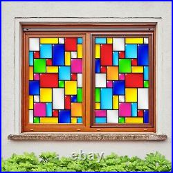 3D Color Square I04 Window Film Print Sticker Cling Stained Glass UV Block Ang