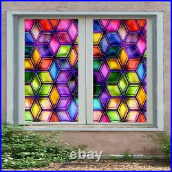 3D Color Square ZHUB31 Window Film Print Sticker Cling Stained Glass UV Block