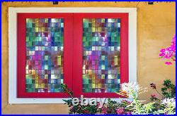 3D Color Square ZHUB394 Window Film Print Sticker Cling Stained Glass UV Block