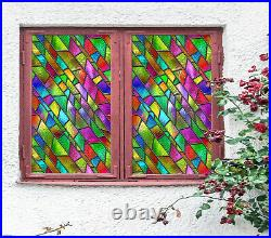 3D Color Square ZHUB398 Window Film Print Sticker Cling Stained Glass UV Block