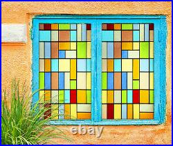 3D Color Square ZHUB630 Window Film Print Sticker Cling Stained Glass UV Block