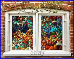 3D Color Stones I513 Window Film Print Sticker Cling Stained Glass UV Block Amy