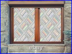 3D Color Stripe D327 Window Film Print Sticker Cling Stained Glass UV Block Amy