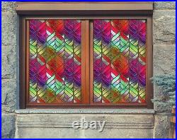 3D Color Stripes B698 Window Film Print Sticker Cling Stained Glass UV Block Amy