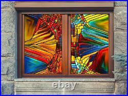 3D Color Stripes ZHUA132 Window Film Print Sticker Cling Stained Glass UV Zoe