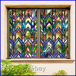 3D Color Stripes ZHUA177 Window Film Print Sticker Cling Stained Glass UV