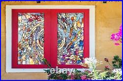 3D Color Texture B282 Window Film Print Sticker Cling Stained Glass UV Block Amy