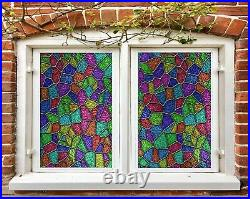 3D Color Texture I302 Window Film Print Sticker Cling Stained Glass UV Block Amy