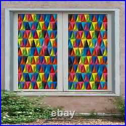 3D Color Triangle ZHUB314 Window Film Print Sticker Cling Stained Glass UV Block
