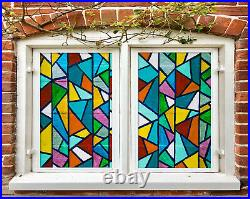 3D Color Triangle ZHUB374 Window Film Print Sticker Cling Stained Glass UV Block