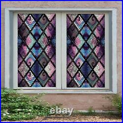 3D Color Wave I206 Window Film Print Sticker Cling Stained Glass UV Block Ang