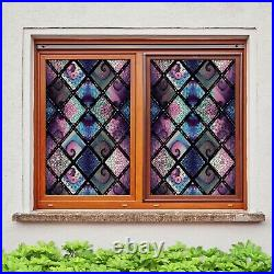 3D Color Wave Poi D206 Window Film Print Sticker Cling Stained Glass UV Block An