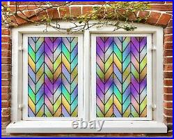3D Color Waves B604 Window Film Print Sticker Cling Stained Glass UV Block Amy
